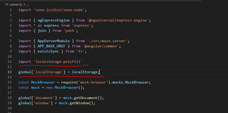 add localstorage polyfill package in server.ts for use of local storage at server side rendering